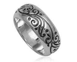 Herre fingerring i sølv / Tribal Design
