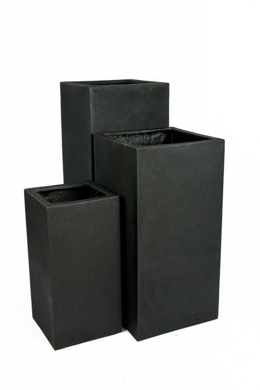 Velsete Høje Sorte Krukker Rektangulære Frostsikre - 60 + 80 + 100cm LF-78