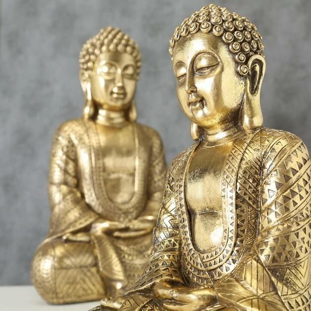 da12aa7df22 Stor Guld Buddha Figur / Statue - Siddende Buddha I Guld - 70cm
